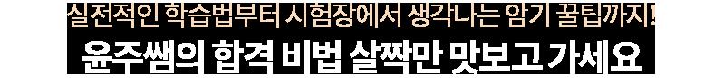 윤주쌤의 합격 비법 살짝만 맛보고 가세요.