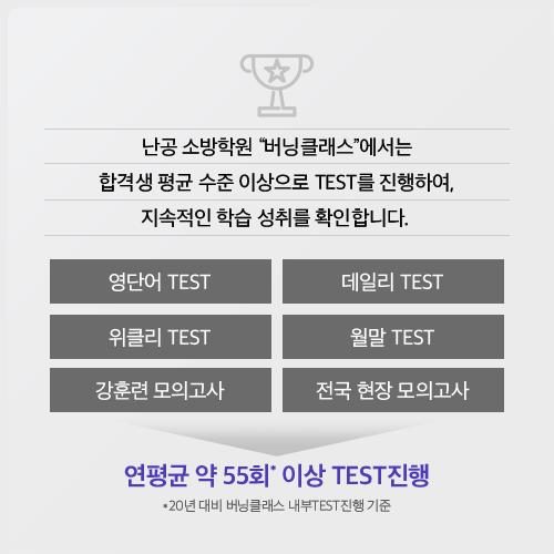 연평균 약 55회 이상 TEST 진행