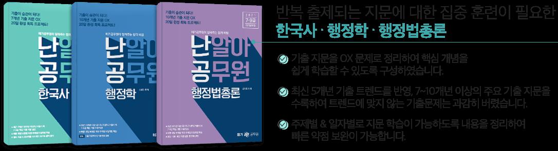 반복 출제되는 지문에 대한 집중 훈련이 필요한 한국사·행정학·행정법총론
