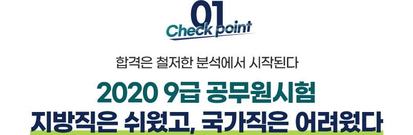 01.check point 합격은 철저한 분석에서 시작된다. 2020 9급 공무원시험 지방직은 쉬웠고,국가직은 어려웠다