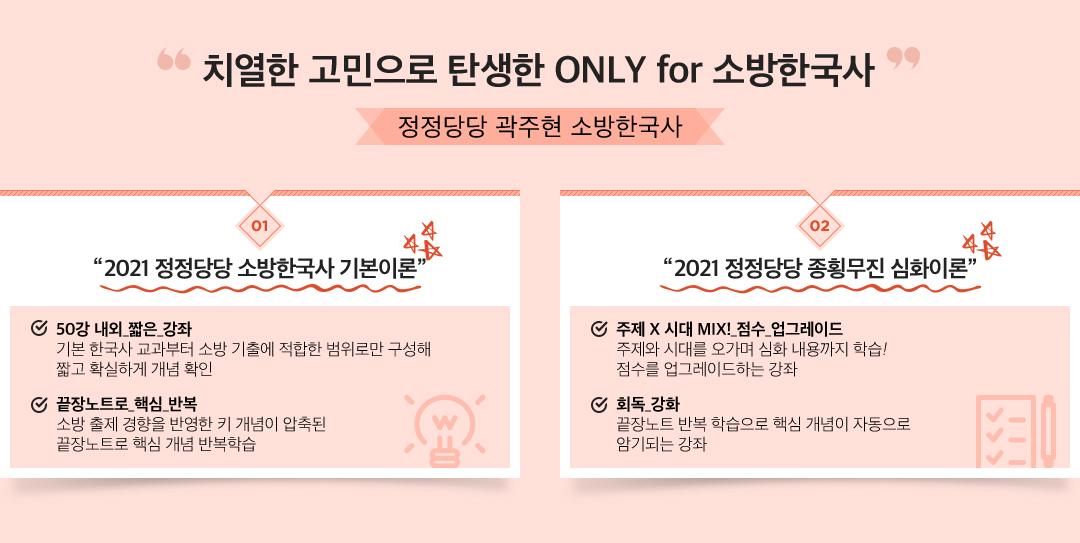 정정당당 곽주현 소방한국사(2021 정정당당 소방한국사 기본이론/2021 정정당당 종횡무진 심화이론)