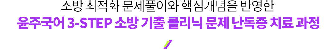 소방 최적화 문제풀이와 핵심개념을 반영한 윤주국어 3-STEP 소방 기출 클리닉 문제 난독증 치료 과정