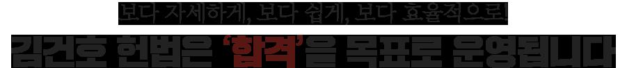 보다 자세하게, 보다 쉽게, 보다 효율적으로! 김건호 헌법은 합격을 목표로 운영됩니다.