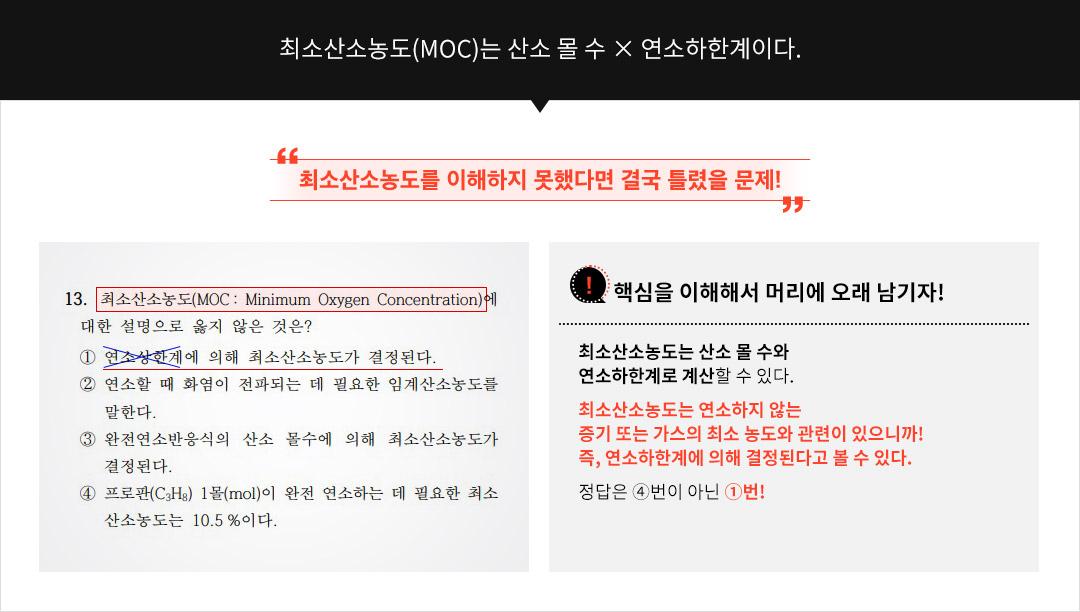 암기내용-최소산소농도(MOC)는 산소 몰 수 × 연소하한계이다.