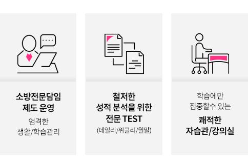 소방전문담임 제도 운영, 철저한 성적 분석을 위한 전문 TEST,  쾌적한 자습관/강의실